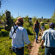 Visiting the Shane Cabins Homestead in Grand Teton National Park, Wyoming on a Teton Science Schools wildlife tour. (Greg Peck, Matthew Bart, Sean Baker, Maura Bushior, Katie-Cloe Stock, Tracy Logan, Paul Maddex, Lead Guide Dawson)