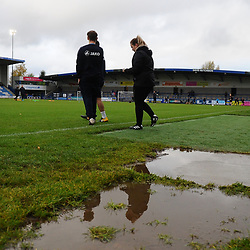 TELFORD COPYRIGHT MIKE SHERIDAN A general view of a puddle at the Bucks Head Stadum during the Vanarama National League Conference North fixture between AFC Telford United and Boston on Saturday, November 2, 2019.<br /> <br /> Picture credit: Mike Sheridan/Ultrapress<br /> <br /> tags: postponement, weather, storm<br /> <br /> MS201920-028