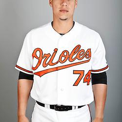 Feb 22, 2013; Sarasota, FL, USA; Baltimore Orioles catcher Jose Gil (74) at the Orioles clubhouse. Mandatory Credit: Derick E. Hingle-USA TODAY Sports