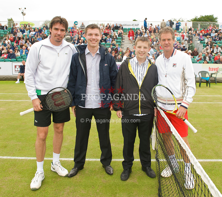 LIVERPOOL, ENGLAND - Sunday, June 21, 2009: Anders Jarryd (SWE) and Michael Stich (GER) with sponsors during Day Five of the Tradition ICAP Liverpool International Tennis Tournament 2009 at Calderstones Park. (Pic by David Rawcliffe/Propaganda)
