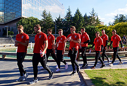 BELGRADE, SERBIA - Sunday, June 11, 2017: Wales' David Edwards, Sam Vokes, Tom Bradshaw during a team walk around the Hyatt Regency Hotel before the 2018 FIFA World Cup Qualifying Group D match between Wales and Serbia. (Pic by David Rawcliffe/Propaganda)