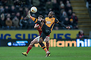 Sone Aluko (Hull City) kicks the ball down field to set up another attack during the Sky Bet Championship match between Hull City and Nottingham Forest at the KC Stadium, Kingston upon Hull, England on 15 March 2016. Photo by Mark P Doherty.