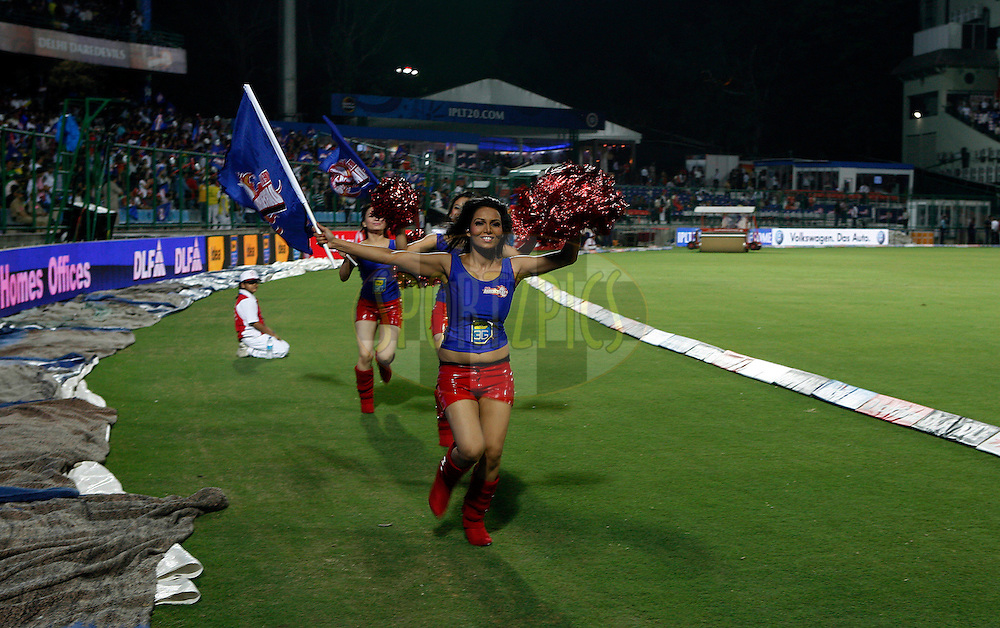 Cheer Girls during match 30 of the Indian Premier League ( IPL ) Season 4 between the Delhi Daredevils and the Royal Challengers Bangalore held at the Feroz Shah Kotla Stadium in Delhi, India on the 26th April 2011..Photo by Money Sharma/BCCI/SPORTZPICS