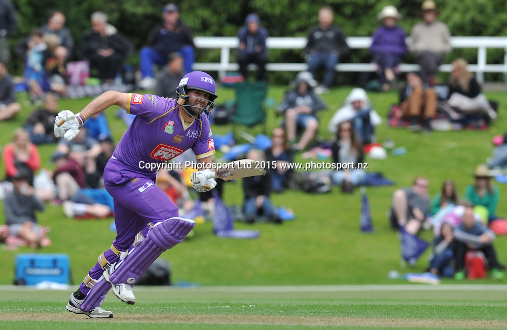 Canterbury Kings Andrew Ellis in the Georgie Pie Super Smash Twenty20 cricket match between the Otago Volts v Canterbury Kings held at the University Oval, Dunedin. 29 November 2015