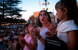 MALTA GOZO SANNAT JUL00 - Little girls clap at the appearance of the statue of Holy Mary at the start of the procession, marking the beginning of the Fiesta.. . jre/Photo by Jiri Rezac. . © Jiri Rezac 2000. . Tel:   +44 (0) 7050 110 417. Email: info@jirirezac.com. Web:   www.jirirezac.com