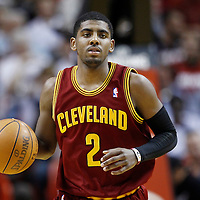 24 January 2012: Cleveland Cavaliers point guard Kyrie Irving (2) brings the ball up court during the Miami Heat 92-85 victory over the Cleveland Cavaliers at the AmericanAirlines Arena, Miami, Florida, USA.