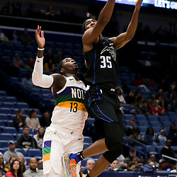 Feb 12, 2019; New Orleans, LA, USA; Orlando Magic guard Melvin Frazier Jr. (35) shoots over New Orleans Pelicans forward Cheick Diallo (13) during the second half at the Smoothie King Center. Mandatory Credit: Derick E. Hingle-USA TODAY Sports