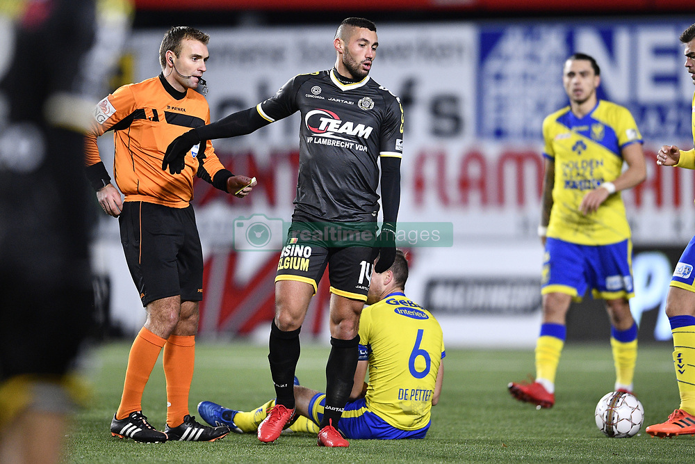 November 25, 2017 - Sint-Truiden, BELGIUM - Lokeren's Mehdi Terki receives a red card from referee Nicolas Laforge during the Jupiler Pro League match between STVV and Lokeren, in Sint-Truiden, Sunday 26 November 2017, on day 16 of the Jupiler Pro League, the Belgian soccer championship season 2017-2018. BELGA PHOTO YORICK JANSENS (Credit Image: © Yorick Jansens/Belga via ZUMA Press)