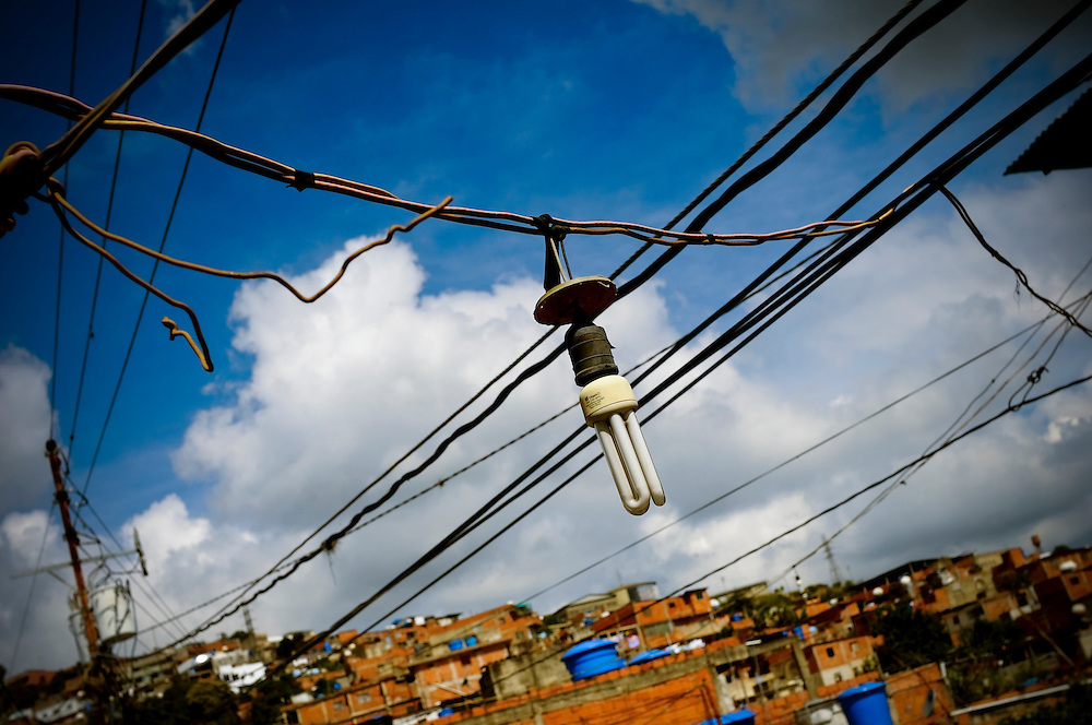 Powerlines in the El Junquito slum in Caracas, Venezuela.  People living in Venezuelan slums are faced daily with inadequate municipal services, including blackouts, water shortages, poor roads and an unreliable waste management system.