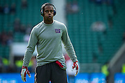 Wide receiver Victor Cruz of the New York Giants warms up during the International Series match between New York Giants and Los Angeles Rams at Twickenham, Richmond, United Kingdom on 23 October 2016. Photo by Jason Brown.
