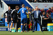 Leicester City Manager Claudio Ranieri  has a harsh word with Leicester City defender Robert Huth (6)  after Leicester City forward Jamie Vardy (9) scores a goal and celebrates to make the score 1-0 during the Barclays Premier League match between Leicester City and West Ham United at the King Power Stadium, Leicester, England on 17 April 2016. Photo by Simon Davies.