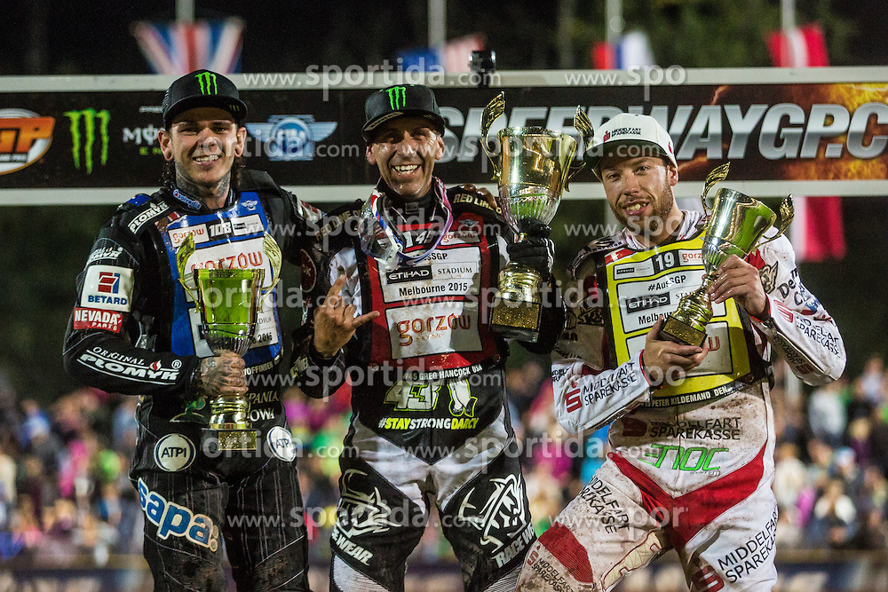 Winners of Speedway Grand Prix in Krsko Tai Woffinden of England, Greg Hancock of USA and Peter Kildeand of Denmark during Mitas Slovenian FIM Speedway Grand Prix World Cup, Krsko<br /> , on 9. September, 2015, in Sports park Krsko, Slovenia. Photo by Grega Valancic / Sportida
