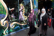 Disney character Rapunzel from their film Tangled stands looking at Muslim women, exemplifying feminine beauty.