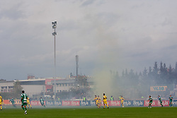 Fans's Fire at 13th Round of Prva Liga football match between NK Olimpija and Maribor, on October 17, 2009, in ZAK Stadium, Ljubljana. Maribor won 1:0. (Photo by Vid Ponikvar / Sportida)