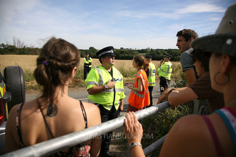 Climate Camp 2008 at King's North Coal Power Station..The field chosen for hosting the week of Climate Camp was successfully taken Wednesday around 3 pm and is now leagly occupied by Climate Campers.  The work of setting up camp has begun, prepairing for potentially thousands of climate campers arriving from around the UK.  The camp officially starts Sunday August 3.
