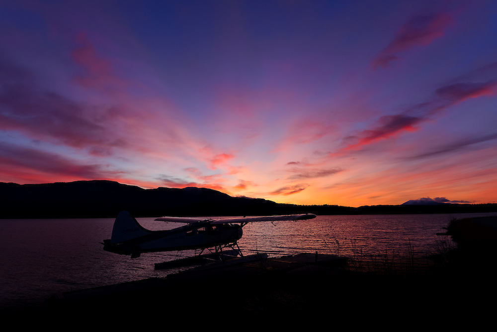 A colourful sunrise at the Schwatka Lake float plane base