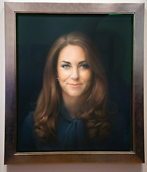 Unveiling of the first official painted portrait of the Duchess of Cambridge on display at the National Portrait Gallery from today, painted by artist Paul Elmsley, London, UK, January 11, 2013. Photo by i-Images.