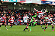 Forest Green Rovers Darren Carter attempts an overhead kick during the Vanarama National League match between Cheltenham Town and Forest Green Rovers at Whaddon Road, Cheltenham, England on 21 November 2015. Photo by Shane Healey.