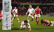 Rugby World Cup. England v Tonga. Andy Farrell dives over for an England try at the Parc des Princes, Paris, France. Friday 28 September 2007. Photo: Ron Gaunt/Sportzpics
