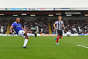 Oldham Athletic forward Chris O'Grady (10) takes a shot at goal during the EFL Sky Bet League 2 match between Grimsby Town FC and Oldham Athletic at Blundell Park, Grimsby, United Kingdom on 15 September 2018.