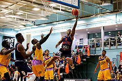 Panos Mayindombe of Bristol Flyers reaches for the basket - Photo mandatory by-line: Robbie Stephenson/JMP - 10/04/2019 - BASKETBALL - UEL Sports Dock - London, England - London Lions v Bristol Flyers - British Basketball League Championship