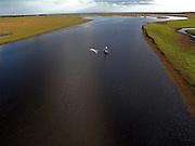Aerial view of St. John River.  Fishermen are casting net