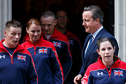 © Licensed to London News Pictures. 27/04/2016. London, UK. Prime Minister David Cameron meets members of the United Kingdom team attending the Invictus Games in Downing Street, London on Tuesday, 27 April 2016. Photo credit: Tolga Akmen/LNP