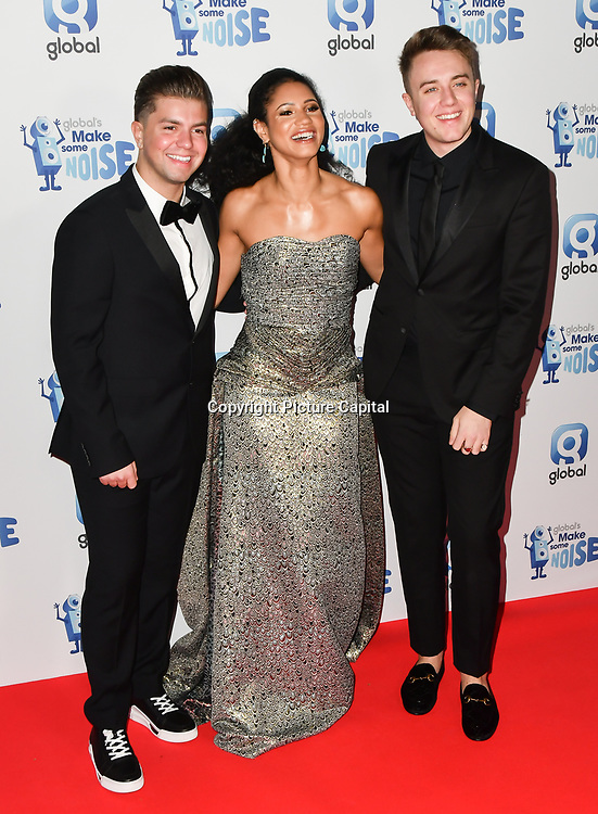 Sonny J, Vick Hope and Roman Kemp arrivers at the Global's Make Some Noise Night at Finsbury Square Marquee on 20 November 2018, London, UK.