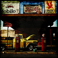 By taking modern elements and combining them with historical elements from the fifties, Gas station No 3 is the perfect adaptation of a vintage gas station. For art connoisseurs that are interested in popular references including Pepsi and Mobiloil this painting combines all of the best elements to create a jaw dropping piece. It would fit perfectly in an office or a common area for vintage collectors or antiquity specialists. With the great use of primary colors, it makes all of the important elements in the picture pop such as the vintage yellow truck and the memorable red gas pumps. .<br />
