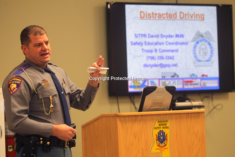 Ray Hall, Master Sergeant with Troop F of the Mississippi Highway Patrol, announces a new safety campaign called to his fellow troopers called, UNDER 40, to reduce the number of fatalities on the highways. UNDER 40 will be a year long program focusing on visibility, enforcement, social media and the media.
