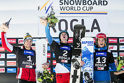 28.01.2017, Course Jasa, Rogla, SLO, FIS Weltcup Snowboard, Rogla, Parallel Riesenslalom, Herren, Siegerehrung, im Bild Second placed Radoslav Yankov (BUL), winner Nevin Galmarini (SUI) and third placed Zan Kosir (SLO) celebrate at trophy ceremony // after men's Parallel Giant Slalom of the Rogla FIS Snowboard World Cup at the Course Jasa in Rogla, Slovenia on 2017/01/28. EXPA Pictures © 2017, PhotoCredit: EXPA/ Sportida<br /> <br /> *****ATTENTION - OUT of SLO, FRA*****
