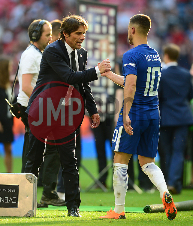 Chelsea manager Antonio Conte Eden Hazard of Chelsea - Mandatory by-line: Alex James/JMP - 19/05/2018 - FOOTBALL - Wembley Stadium - London, England - Chelsea v Manchester United - Emirates FA Cup Final