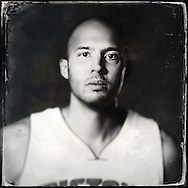 Sep 29, 2014; Auburn Hills, MI, USA;  (Editor's Note: Photo was post-processed creating a digital tintype) Detroit Pistons forward Brian Cook (43) during media day at the Pistons practice facility. Mandatory Credit: Rick Osentoski-USA TODAY Sports