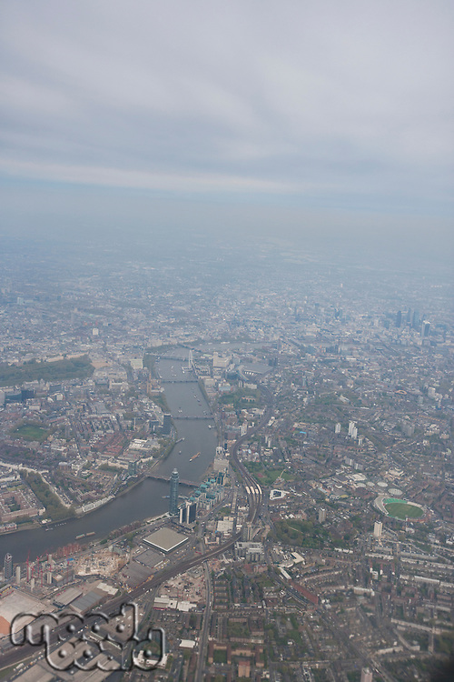 Aerial view of city and River Thames; London; UK
