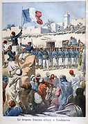 French colonial troops led by Lieutenant Boiteux raising the French flag at Timbuktu (Timbuctoo), Mali, West Africa, 28 December 1893, making it part of French Sudan. From 'Le Petit Journal', Paris,  12 February 1892.  France