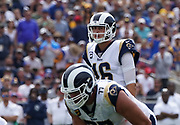 Los Angeles Rams quarterback Jared Goff (16) during an NFL football game against the New Orleans Saints, Sunday, Sept. 15, 2019, in Los Angeles. The Rams defeated the Saints 27-9. (Dylan Stewart/Image of Sport)