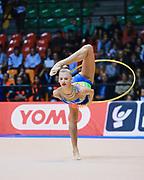 Alexandra Soldatova atleta della società Udinese durante la seconda prova del Campionato Italiano di Ginnastica Ritmica.<br /> La gara si è svolta a Desio il 31 ottobre 2015.<br /> Alexandra è una ginnasta di origine russe nata il 1º giugno 1998.