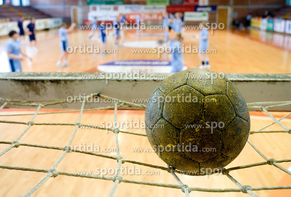 A handball ball at practice of Slovenian Handball Women National Team, on June 3, 2009, in Arena Kodeljevo, Ljubljana, Slovenia. (Photo by Vid Ponikvar / Sportida)