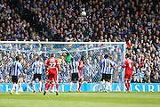 Cardiff City goalkeeper, David Marshall (1) punches clear during the Sky Bet Championship match between Sheffield Wednesday and Cardiff City at Hillsborough, Sheffield, England on 30 April 2016. Photo by Phil Duncan.