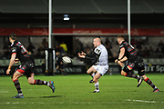 Brendan Leonard passes during the Guinness Pro 14 2017_18 match between Edinburgh Rugby and Ospreys at Myreside Stadium, Edinburgh, Scotland on 4 November 2017. Photo by Kevin Murray.