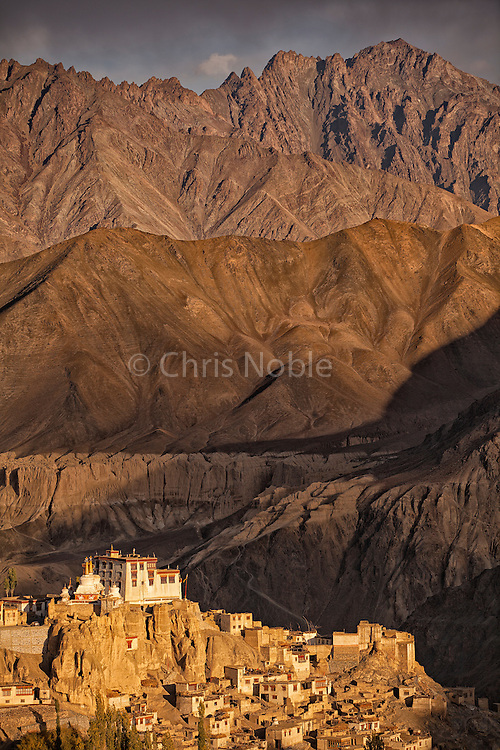 Sunset on Yangdrung Monastery in Lamayuru Ladakh, India.
