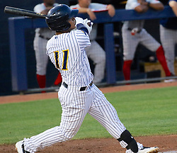 May 19, 2017 - Trenton, New Jersey, U.S - GLEYBER TORRES, an infielder for the Trenton Thunder, hits a grand slam the third inning of the game  versus the Portland Sea Dogs at ARM & HAMMER Park. (Credit Image: © Staton Rabin via ZUMA Wire)