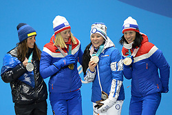 February 15, 2018 - Pyeongchang, South Korea - (shown left tor right ) CHARLOTTE KALLA of Sweden , RAGNHLD HAGA of Norway , KRISTA PARMAKOSKI of Finland and MARIT BJORGEN of Norway with their medals from the Ladies' 10km Free cross-country event In the PyeongChang Olympic games. (Credit Image: © Christopher Levy via ZUMA Wire)