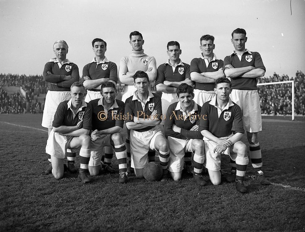 22/4/1953<br /> 4/22/1953<br /> 22 April 1953 <br /> Soccer, football,League of Ireland v Irish League, Dalymount Park, Dublin. The League of Ireland Team.