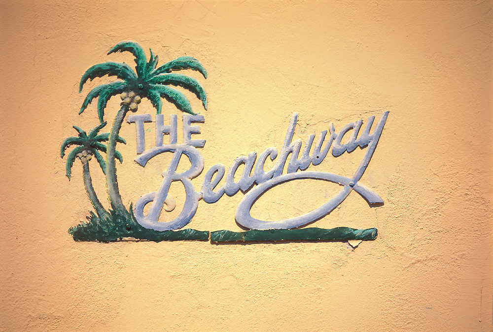 A one-of-a-kind Tropical Deco nameplate on The Beachway Apartments, designed in 1940 by architect L. Murray Dixon in Miami Beach's historic South Beach neighborhood. <br />