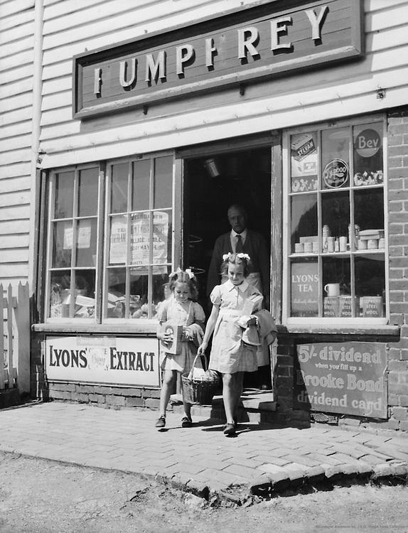 Girls Shopping at the Village Shop, Horsemonden, Kent, 1948