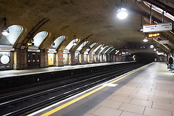 © Licensed to London News Pictures. 17/03/2020. London, UK.  Baker Street train station Is empty during morning rush hour as commuters avoid travelling during the Coronavirus outbreak. Photo credit: Ray Tang/LNP