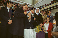 Albania. Shkoder.  Big mass with mother Theresa , The cathedral was transformed in a sport palace during the comunist regime. /  Mere Theresa. Premiere messe dans la cathedrale de Skodra qui avait ete transformee en palais des sports perndant la periode communiste