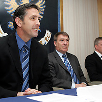 St Johnstone manager Owen Coyle (left) pictured with his assistant Jim Weir (far right) and Chairman Geoff Brown who has today extended the contracts of Coyle and Weir. Owen was also named Bells Manager of the Month for March today.<br /> see story by Gordon Bannerman Tel: 01738 553978 or 07729 865788<br /> Picture by Graeme Hart.<br /> Copyright Perthshire Picture Agency<br /> Tel: 01738 623350  Mobile: 07990 594431