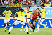 Gerard Deulofeu of Spain competes for the ball with Pablo Armero, Oscar Murillo, Abel Aguilar during the friendly match between Spain and Colombia at Nueva Condomina Stadium in Murcia, jun 07, 2017. Spain. (ALTERPHOTOS/Rodrigo Jimenez)